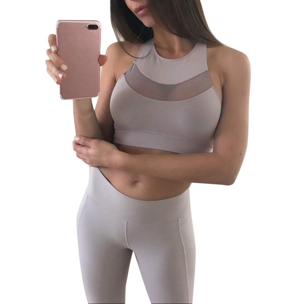 Women Bra,❤️TWinmar Ladies Teen Fashion Mesh Perspective Sports Vest Tank Tops for Running Fitness Yoga