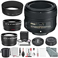 Nikon AF-S NIKKOR 50mm f/1.8G Lens W/ Deluxe Accessory Bundle, 58mm Wide-angle & Telephoto Lens +3pc Filter Kit + Xpix Professional Cleaning Kit