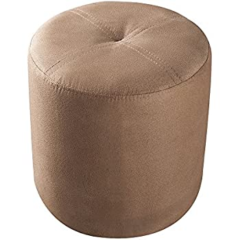 Kings Brand Furniture Round Ottoman Stool (Brown Microfiber)