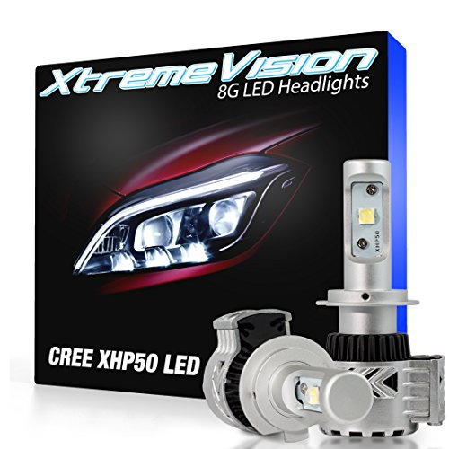 XtremeVision 8G 72W 12,000LM - H7 LED Headlight Conversion Kit - 6500K XHP50 CREE LED by XtremeVision