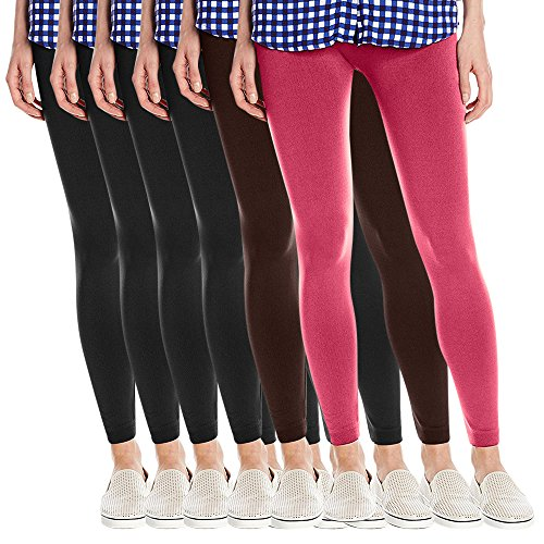 Fashion Printed Women's Super Soft Fleece Lined Leggings, One Size - Pack Of 6 - Set 5-4 Blacks, Brown & Fuchsia by Fashion Printed