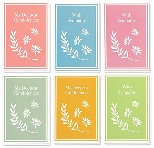 Sympathy Cards Box Set – 48 Pack Sympathy Cards, 6 Colorful Pastel Designs, Condolence Cards Bulk, Envelopes Included, 4 x 6 Inches by Best Paper Greetings