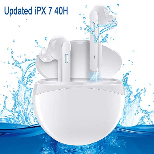 Updated TOP True Wireless Earbuds Bluetooth Headphones iPX7 Waterproof 40H Cycle Playtime,Bluetooth 5.0 Auto Pairing Wireless Earphones Bluetooth Headset with Bass HiFi Stereo Sound and Charging Case