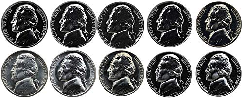 - 1960 S 1961 1962 1963 1964 1965 1966 1967 1968 1969 Jefferson Nickels Complete Decade - 10 coins- Proof and SMS Coins