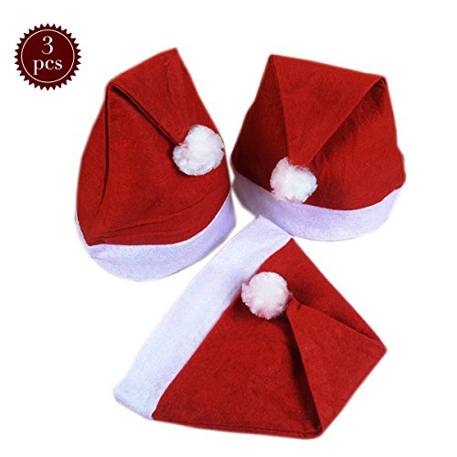 Costumes For People With Beards (Plush Santa Hat Christmas Hat Velvet Santa Claus Christmas Costume Holiday Hat 3PC)