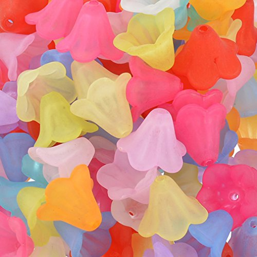 Souarts Mixed Acrylic Frosted Flower Shape Loose Beads Pack of 200pcs