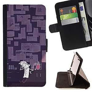 - Lab Scientist Mad Experiment Cartoon Art - - Prima caja de la PU billetera de cuero con ranuras para tarjetas, efectivo desmontable correa para l Funny HouseFOR Samsung Galaxy Core Prime