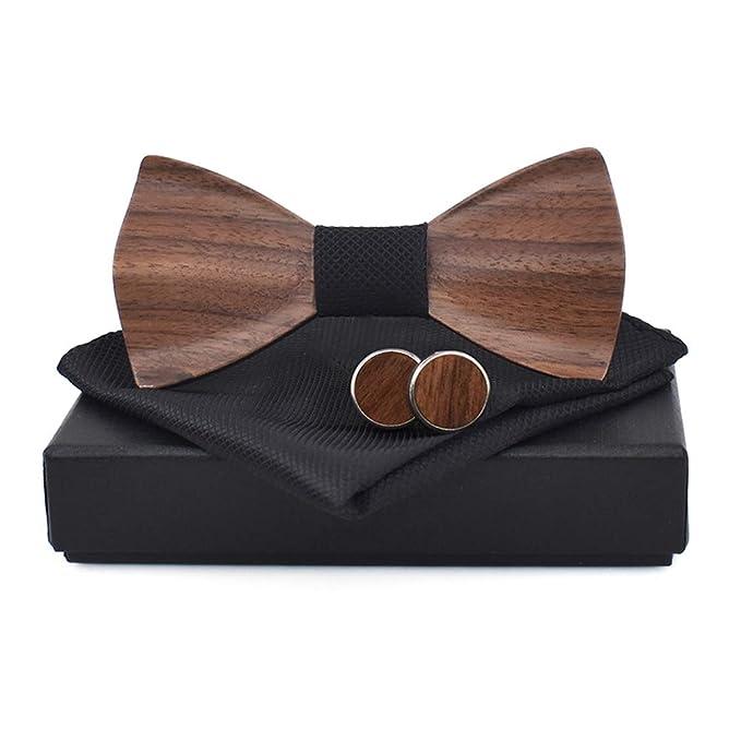 Liyao Conjunto de pajarita clásico de madera para hombre Pañuelo ...