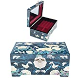Antique Jewelry Box Jewelry Tray Women Gift Jewelry Organizer Mother of Pearl HJL1006 Blue