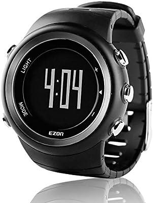 EZON T023B01 - Reloj Digital Deportivo con podómetro y Contador de calorías para Hombre y Mujer