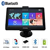 Navigation Systems for Car, Jimwey 7 inch Bluetooth 8GB 256MB GPS Navigation for Car/Truck, Speed Camera Alerts, Capacitive Touch Screen with Pre-Loaded US/CA/MX 2018 Maps, Lifetime Free Map Updates