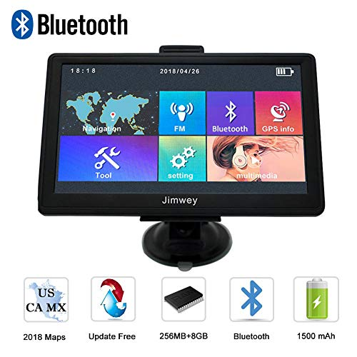 Navigation Systems for Car, Jimwey 7 inch Bluetooth 8GB 256MB GPS Navigation for Car/Truck, Speed Camera Alerts, Capacitive Touch Screen with Pre-Loaded US/CA/MX 2018 Maps, Lifetime Free Map Updates by Jimwey