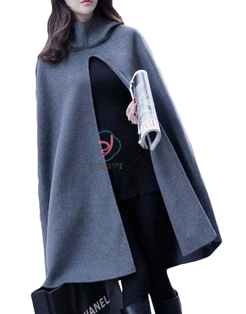 KLJR Women Casual Solid Wool Hooded Split Front Poncho Cape Overcoat
