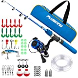 PLUSINNO Kids Fishing Pole with Travel Bag, Telescopic Fishing Rod and Reel Combos