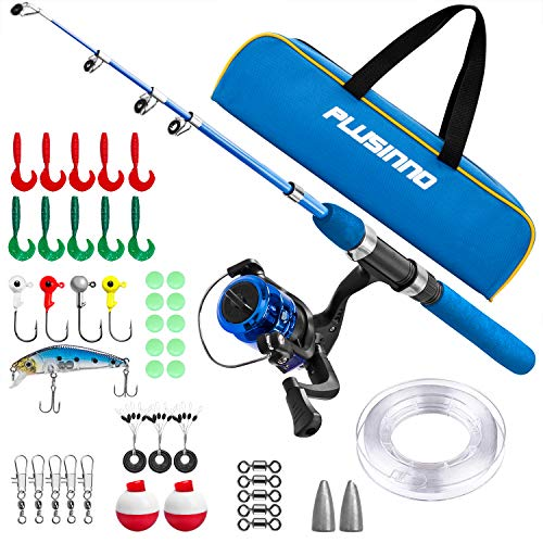 Telescopic Fishing Kit (PLUSINNO Kids Fishing Pole with Travel Bag, Telescopic Fishing Rod and Reel Combos with Spinning Fishing Reel Full Kits for Kids,Boys,Youth Fishing (Blue Handle with Bag, 150CM 59IN))