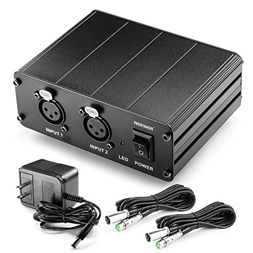 (Neewer 2-Channel 48V Phantom Power Supply with Power Adapter and 2 Packs 20 feet/6 meters 3-pin XLR Male to XLR Female Microphone Cables for Condenser Microphones in Sound Recording, Broadcasting)