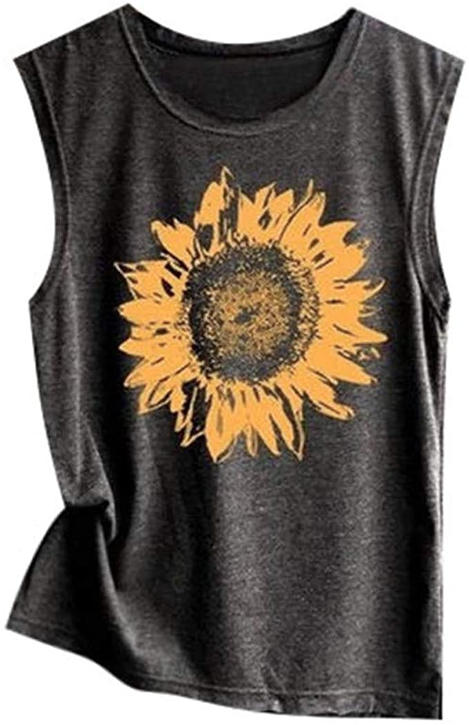 Wenfanal Womens Sunflower Print Tank Tops Crew Neck Summer Casual Sleeveless Cami Shirts Loose T-Shirt Tees Vests Blouses