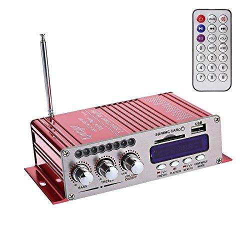 WINGONEER 12V Hi-Fi Digital Stereo Audio Amplifier USB SD DVD FM Audio Stereo Radio MP3 Speaker Car Bluetooth Amplifier HiFi Mini 2 Channel Digital Display Power Player for iPod/Car/Boat