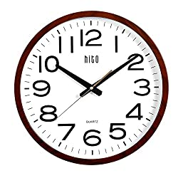 hito Extra Large Oversized Silent Non-ticking Wall Clock- Glass Cover (16 inches, Wood)