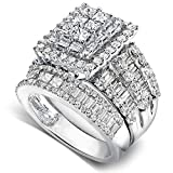 Kobelli Diamond Engagement Ring and Wedding Band Set 2 3/5 carats (ctw) in 14K White Gold, Size 7, White Gold