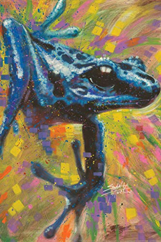 - Blue Dart Frog Painting by Stephen Fishwick Art Poster 12x18 inch
