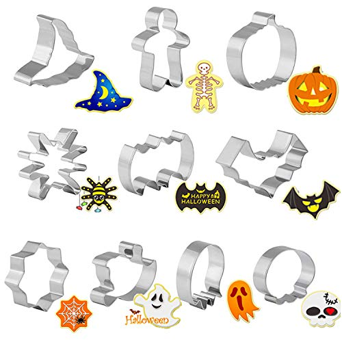 GWHOLE 10 Pcs Cookie Cutter Set Bat Witchcraft and Wizardry Shape Fondant Icing Mold for Kids Birthday Party]()