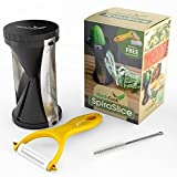 Handycook Spiral Slicer - Best Compact Zucchini Pasta Maker - Includes Free Vegetable Peeler, Cleaning Brush and Recipe Cookbook - Enjoy Your Veggie Noodles Now