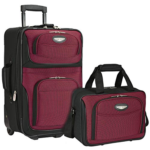 Travelers Choice Travel Select Amsterdam Two Piece Carry-on Luggage Set, Red/Burgundy (Best 2 Piece Carry On Luggage Sets)