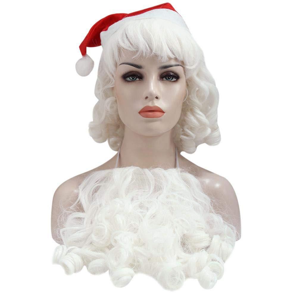 Santa Beard and Wig Set Adult White Fancy Dress Costume Accessory Christmas Gift cheerfullus