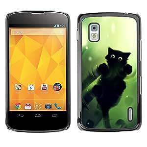 Design for Girls Plastic Cover Case FOR LG Nexus 4 E960 Black Cat Green Eyes Walk On Water Wizzard OBBA