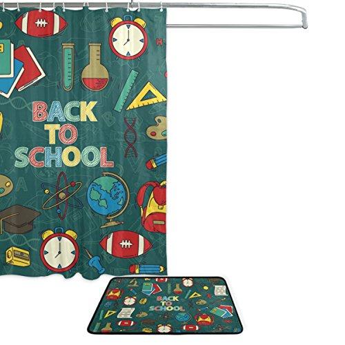 Cooper girl Back To School Waterproof Shower Curtain and Doormat Bath Floor Mat Sets by ALAZA (Image #1)