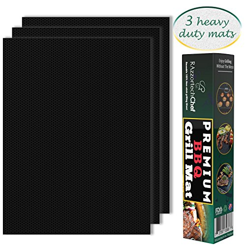 RAzzortechChef Premium BBQ Grill Mats, 100% Non-Stick, Set of 3 Heavy Duty Mats, Reusable and Easy To Clean, High Temperature Resistant, 4 Year Warranty, FDA approved, PFOA free, Dishwasher Safe