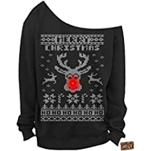 Vintage Fly Ladies Light Up Ugly Christmas Sweater Rudolph The Red Nose Reindeer Slouchy Off The Shoulder Sweatshirt
