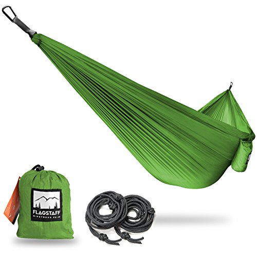 Single & Double Camping Hammocks - Includes 2 Support Ropes and Carabiners - Portable Lightweight Parachute Nylon - Perfect for Camping, Backyard, Beach and (Hatteras Rocker)