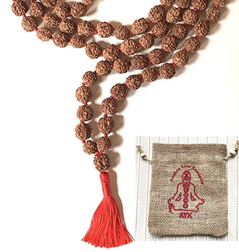 (RUDRAKSHA RUDRAKSH JAPA MALA PRAYER BEADS NECKLACE-BIG 10-12 mm 108 BEADS 5 FACET (5 MUKHI)-SPIRITUALLY ACTIVATED & ENERGIZED HAND KNOTTED HANDMADE MALA FOR NIRVANA, BHAKTI, YOGA MEDITATION - US SELLER)