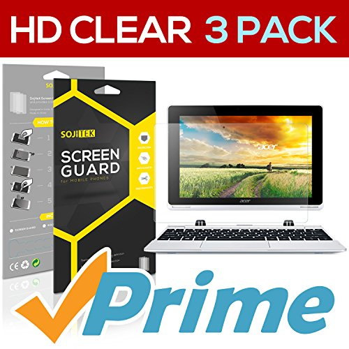 SOJITEK Acer Aspire Switch 10 Tablet Premium Ultra Crystal High Definition (HD) Clear Screen Protector [3-Pack] - Lifetime Replacements Warranty + Retail Packaging