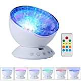 LgoodL Ocean Night Light USB Wave Light Rotating Projector Lamp and Bluetooth Speaker, 12 LED Chips Bulbs 7 Modes Mood Light,Remote contrl,WHITE