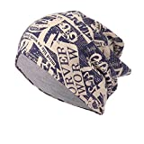 Challyhope Vintage Printed Beanie Cap Lightweight Soft Cozy Knit Slouchy Hip Hop Cap Headdress (Navy, Free)