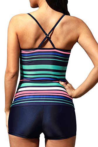 New Rainbow Stripes Cross cinghia posteriore 2PCS Tankini set bikini bikini Swimwear estivo, taglia UK 10EU 38