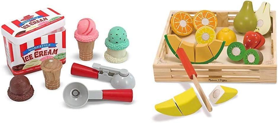 Melissa & Doug Ice Cream Cone Playset & Cutting Fruit