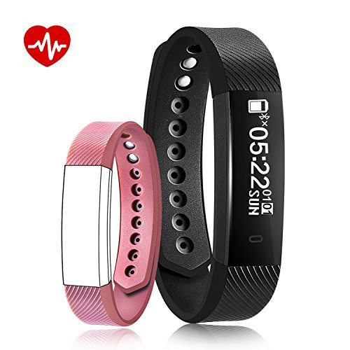 Fitness Tracker Bluetooth Smart Watch Waterproof Wristband Camera Remote Notification Remind Pedometer Heart Rate Support for Android and IOS Black Watch and Pink Band Y15