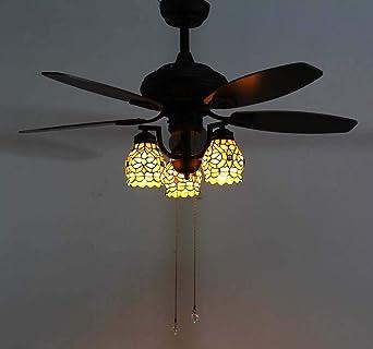 Luz de ventilador de techo estilo Tiffany, soporte de luz de ...