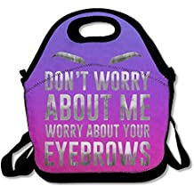 Worry About Your Eyebrows Purple Lunch Bags Insulated Travel Picnic Lunchbox Tote Handbag With Shoulder Strap For Women Teens Girls Kids Adults