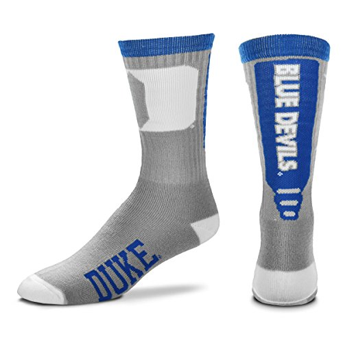 Devils Ncaa Basketball - For Bare Feet NCAA Mens Cool Gray Jump Key Crew Socks-Duke Blue Devils-Large(10-13)