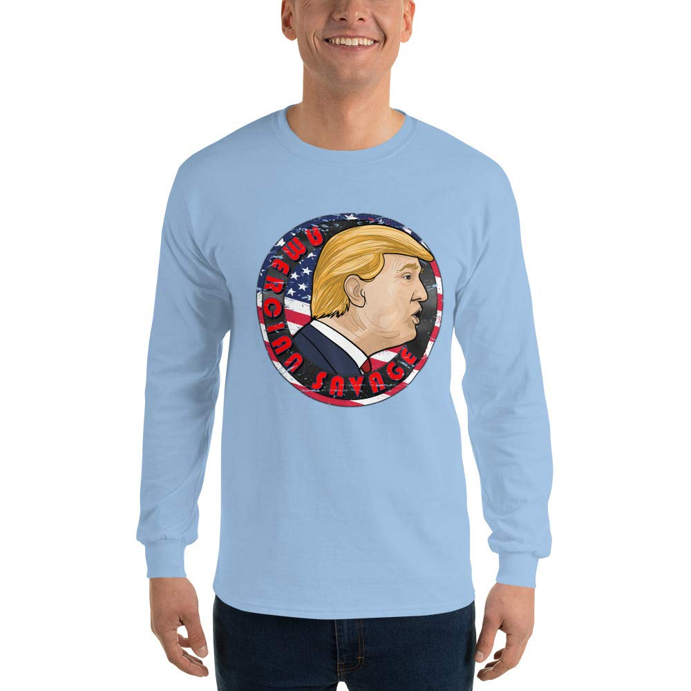 American Savage Donald Trump Mens Ultra 100/% Cotton Long Sleeve T-Shirt 2400
