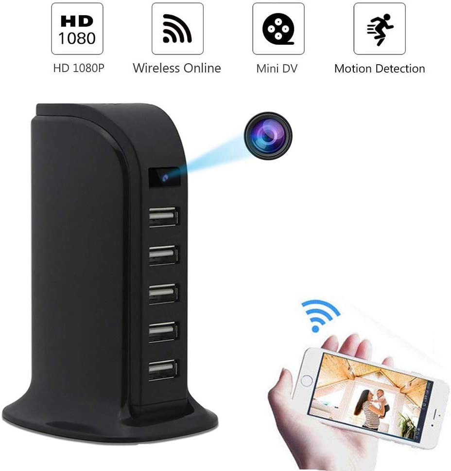 WiFi Hidden Camera Nanny Cam, HD USB Wireless Video Camera 1080P 5-Port USB Charger Camera with Motion Detection for Home, Office