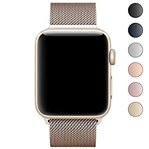 Walcase Fully Magnetic Closure Clasp Milanese Loop Stainless Steel iWatch Band for Apple Watch Series 3 Series 2 Series 1 - 38mm Gold