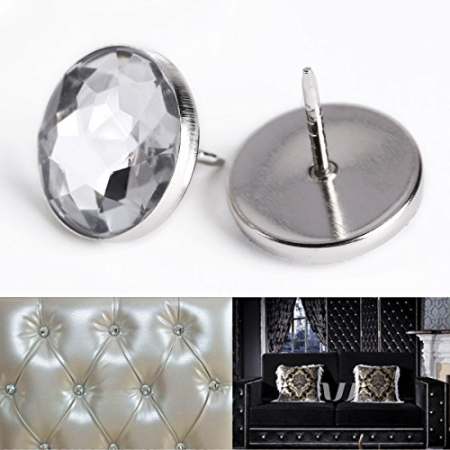 100 x 22MM Crystal Sofa Headboard Upholstery Nails Buttons Tacks - Diamond Upholstery