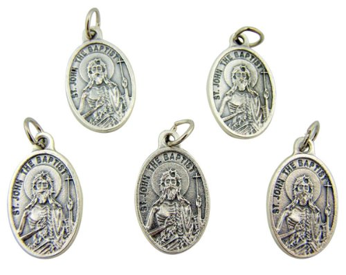 Lot of 5 Patron Saint John the Baptist 1 Inch Silver Tone Pray for Us Medal