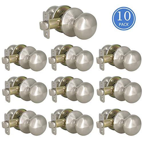 - 10 Pack Door Knobs for Hall Closet, Keyless Passage Brushed Nickel Ball Shape Handleset Lockset
